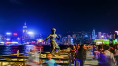 The famous statue of Avenue of Stars in Hong Kong,China Stock Footage