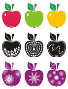 Abstract color apples on white background isolated Stock Illustration