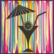 Abstract summer background with cocktail and lemon Stock Illustration