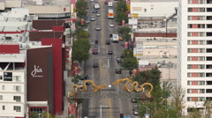 Zoom Out / Time Lapse View of Traffic in Chinatown Downtown Los Angeles Stock Footage