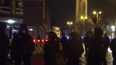 4k Police line and protection at Pegida demonstration and anti-demo Braunschweig Stock Footage