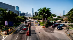 The busy traffic and the project near the harbour in Hong Kong,China Stock Footage