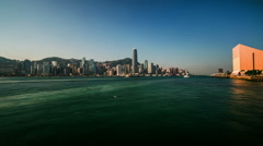 The amazing view of Victoria Harbour in Hong Kong,China Stock Footage