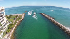 Boating inlet in Florida aerial view Stock Footage