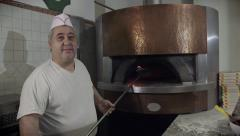 Portrait Man At Work Cook Pizza Restaurant Kitchen Food Italy Stock Footage