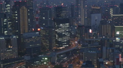 Panorama view Osaka business center crowded downtown twilight city life emblem  Stock Footage