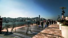 The busy view of Avenue of Stars in Hong Kong,China Stock Footage