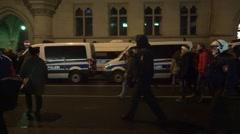 4k Police troop follows Anti-Pegida demonstrators Braunschweig Stock Footage