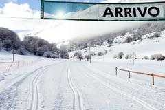 Arrival Gate On Country-cross Ski Slope - stock photo