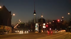 Berlin TV Tower-Night time Stock Footage