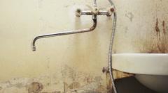 Dilapidated bathroom Stock Footage