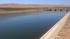 The California aqueduct brings water to drought stricken Southern California. Stock Footage