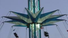 Amusement Park, Ride high rotating swing Stock Footage