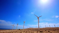 Wind turbines in the desert Stock Footage