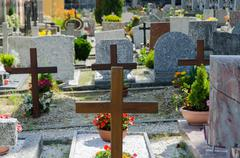 Small cemetery in Italy on summer day Stock Photos
