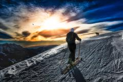 Ski mountaineering silhouette Stock Photos