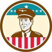 Stock Illustration of Airline Pilot Aviator USA Flag Circle Retro