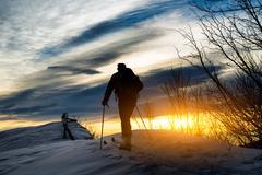 Ski mountaineering silhouette Stock Photos