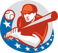 Baseball Player Batter Stars Circle Retro - stock illustration