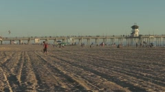 Wide Shot of Beach Activities, Timelapse Stock Footage