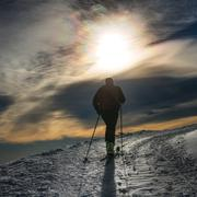 Ski mountaineering silhouette - stock photo