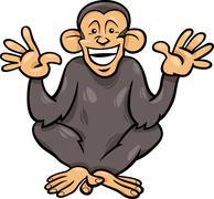 Stock Illustration of chimpanzee ape animal cartoon illustration