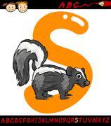 Stock Illustration of letter s for skunk cartoon illustration