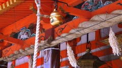 People praying at Yasaka Shrine in the Gion District of Kyoto, Japan Stock Footage