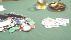 Pan across Poker Table with western props slomo Stock Footage