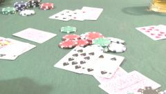 High Speed 7 card Stud Poker Hand Stock Footage