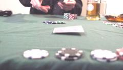 Slow Motion Poker Card Deal Stock Footage