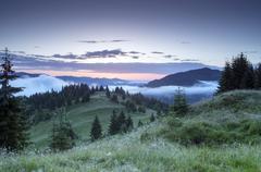 Evening mountain plateau landscape (Carpathian, Ukraine) Stock Photos