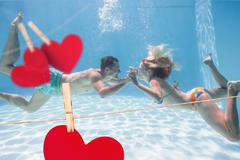 Composite image of cute couple kissing underwater in the swimming pool Stock Illustration