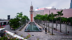 The historic spot:clock tower on the Victoria Harbour, Hong Kong,China Stock Footage