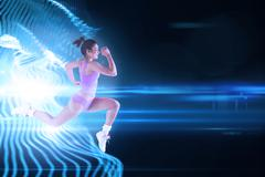 Stock Illustration of Composite image of fit brunette running and jumping