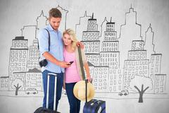 Composite image of attractive young couple ready to go on vacation Stock Illustration