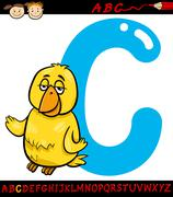 letter c for canary cartoon illustration - stock illustration