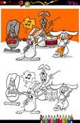 Stock Illustration of bunnies band cartoon coloring book