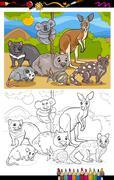 Stock Illustration of marsupials animals cartoon coloring book
