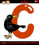 Letter c for crow cartoon illustration Stock Illustration