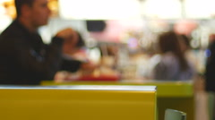 Man in fast food restaurant 4K 2 Stock Footage