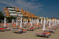 beach in jesolo near venice on the adria coast - stock photo