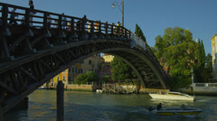 Stock Video Footage of Tourists on Ponte dell'Accademia bridge over Grand Canal