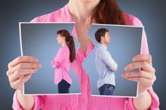 Composite image of man and woman facing away Stock Photos