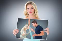 Composite image of angry couple facing off during argument - stock photo