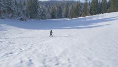 Aerial - Man snowshoeing in a company of a terrier Stock Footage