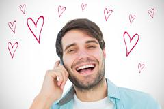 Composite image of happy casual man talking on phone - stock illustration