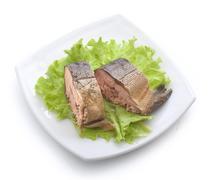 Smoked hunchback salmon - stock photo