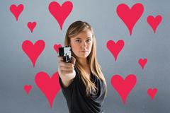 Composite image of femme fatale pointing gun at camera Stock Illustration
