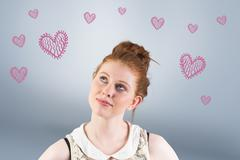 Stock Illustration of Composite image of hipster redhead looking up thinking